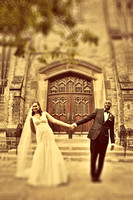 bride holding hands with groom outside the metropolitan united church in toronto canada