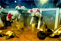 bridal bouquets in mason jars with brides shoes and chalkboard on a table at the berkeley church in toronto canada